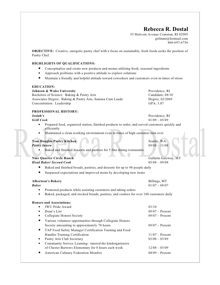 Baker Pastry Chef Sample Resume Pastry Chef Resume Samples