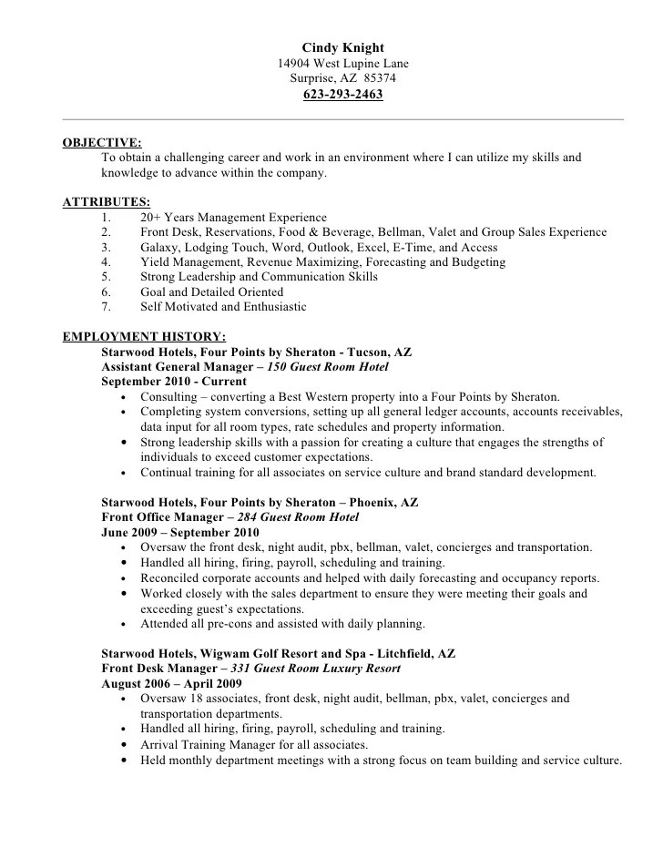 hotel bellman resume sample