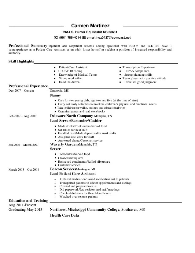 Medical Coder Resume | Physical Therapy Aide Resume
