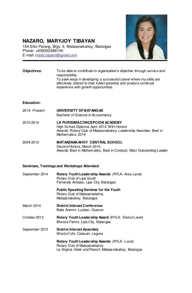 sample resume personal information