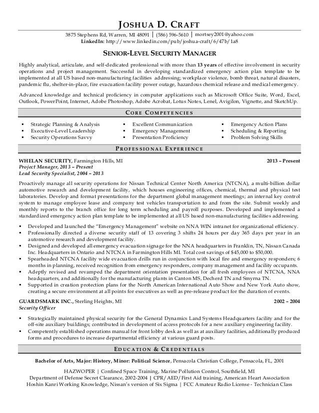 security director resume