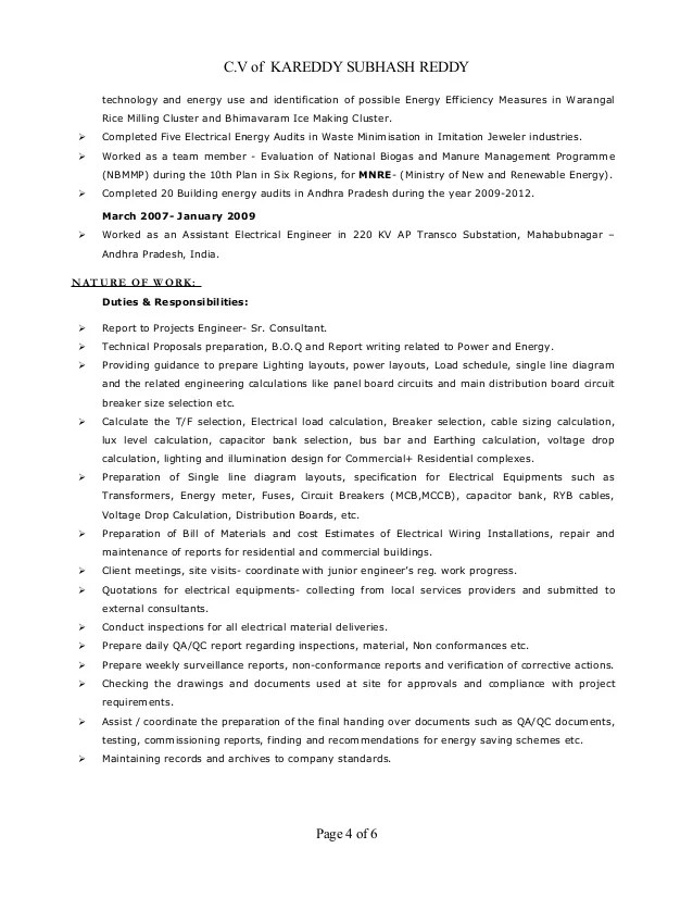electrical engineer resume sample india