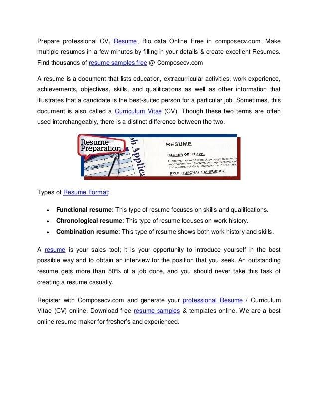 Resume Samples  Free Resume Maker  Download CV Samples  Composecv