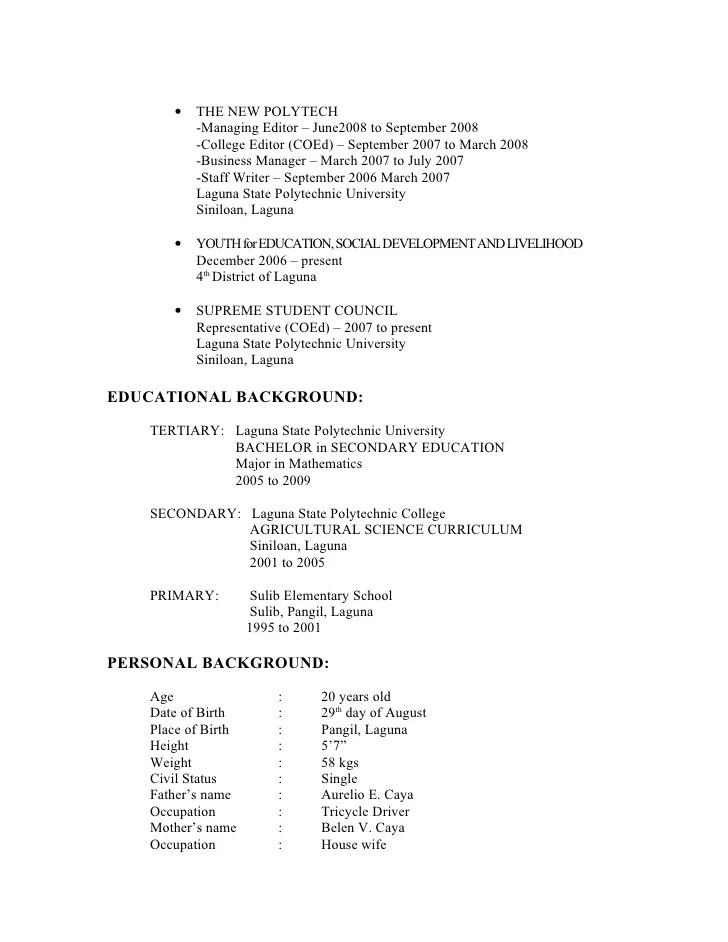resume educational background tertiary