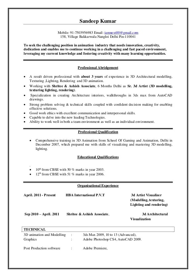 visualizer resume sample