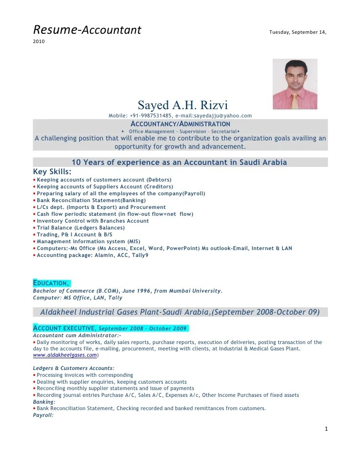 Resume Format In Word File For Accountant