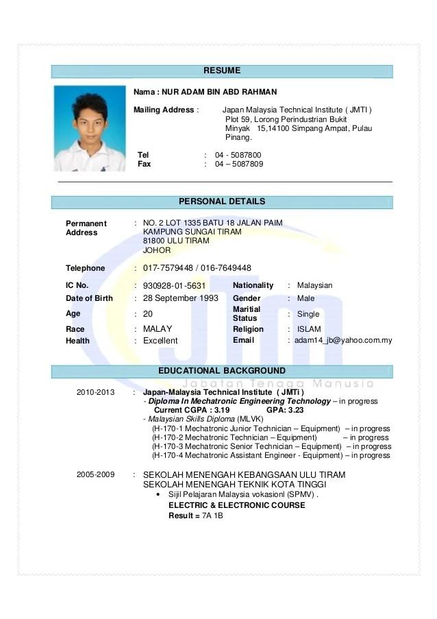 resume in malay language