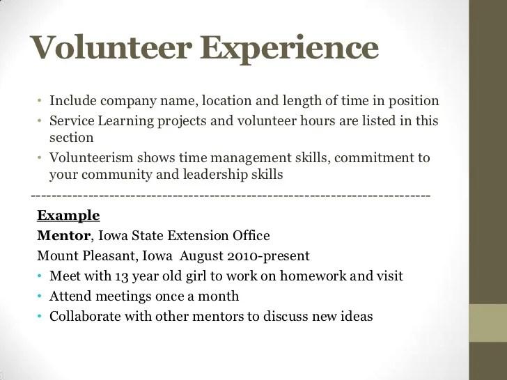 examples of volunteer work on resume