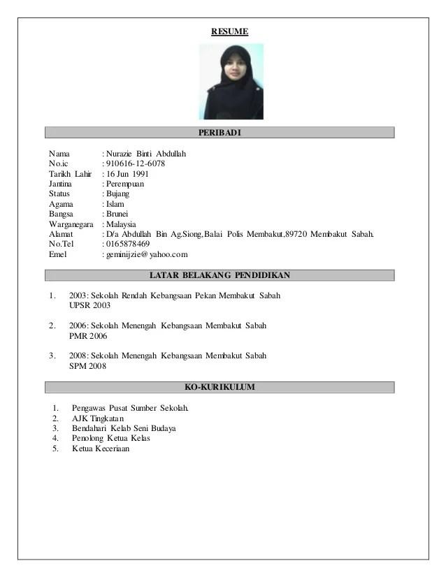 Contoh Cv Aina Nurul Cute766