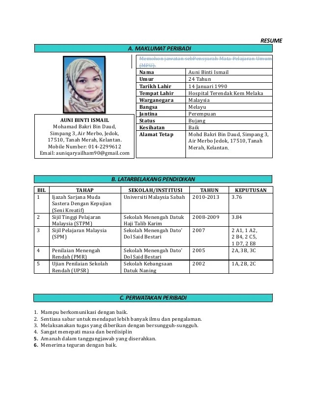 resume kerja kerajaan doc