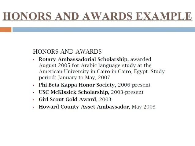 resume awards and honors section example