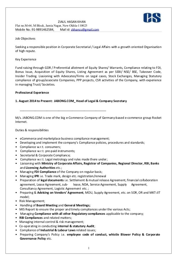 sample resume for assistant company secretary