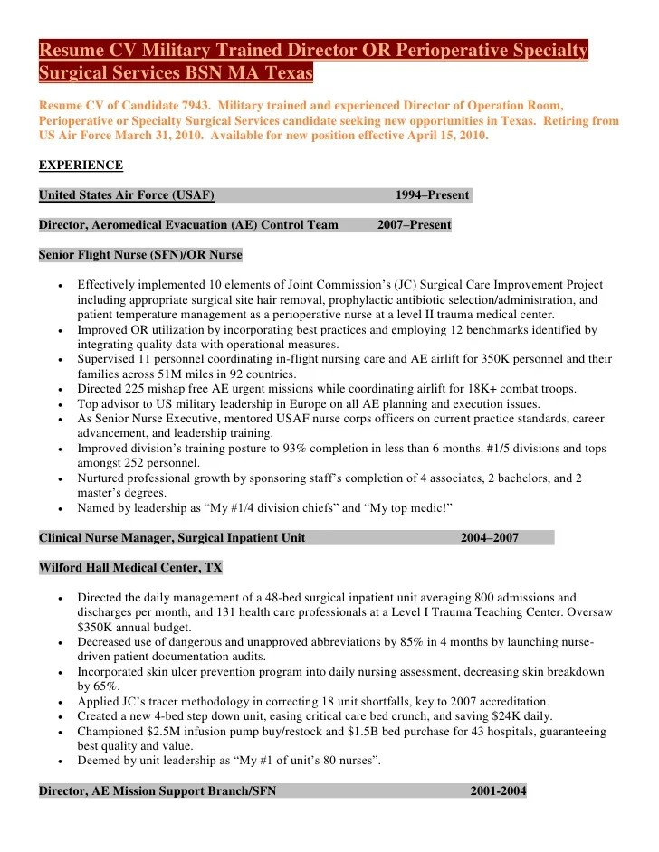Resume CV Military Trained Director Of Perioperative