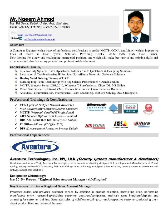 Resume (cv) Naeem Ahmad ELV Engineer