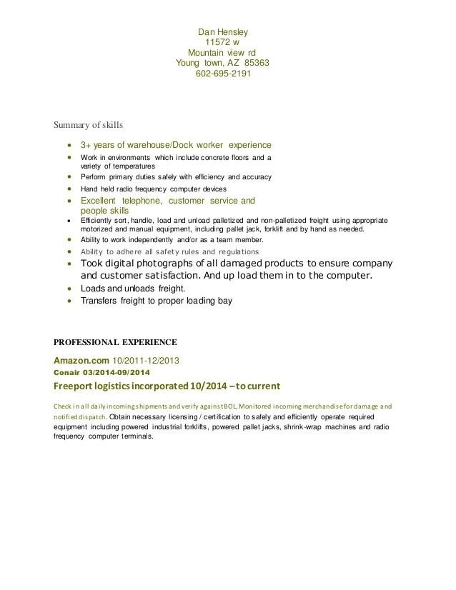 Resume Dock Worker