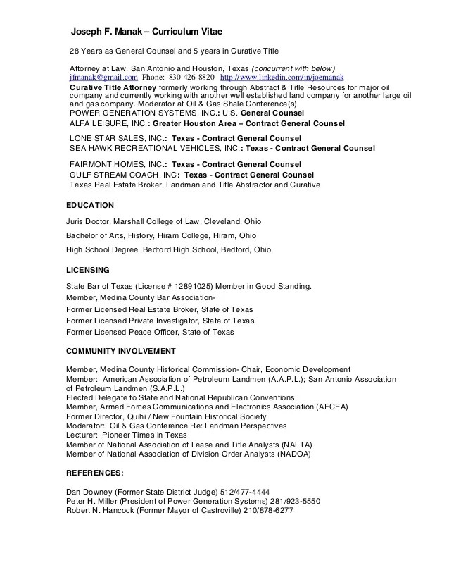 oil and gas sample resume