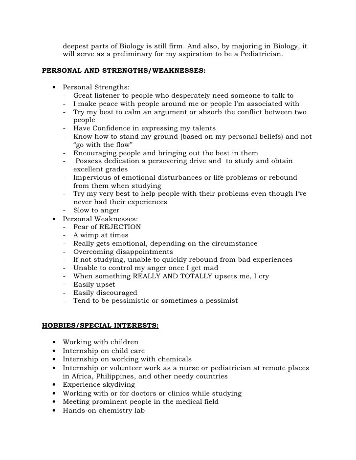 Personal strenght in resume