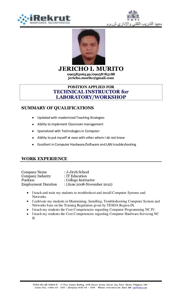 Resume Format Tati