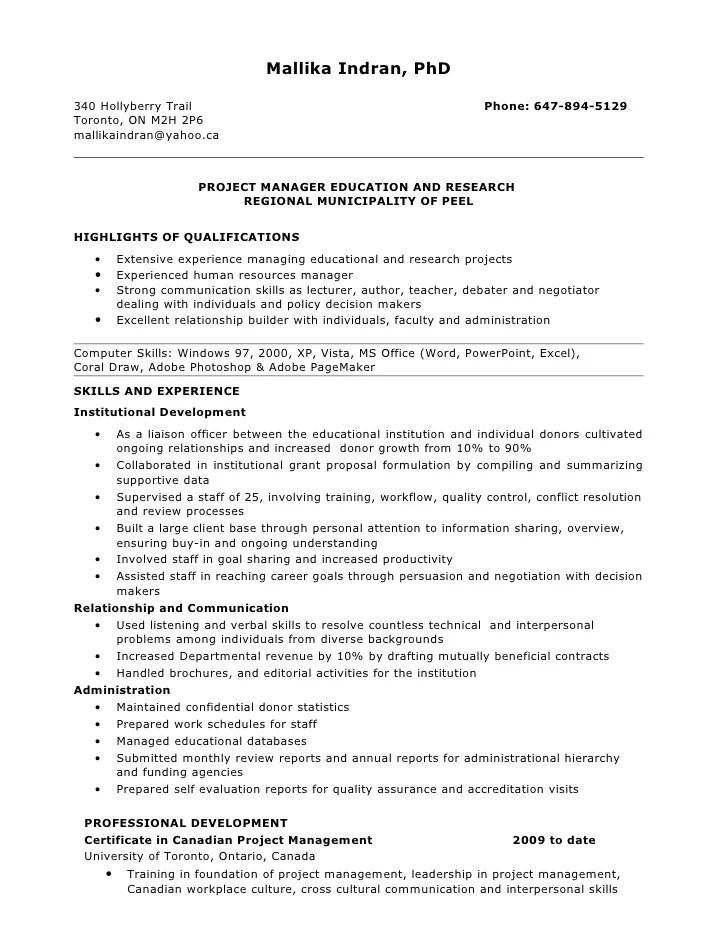 sample resume for top management position