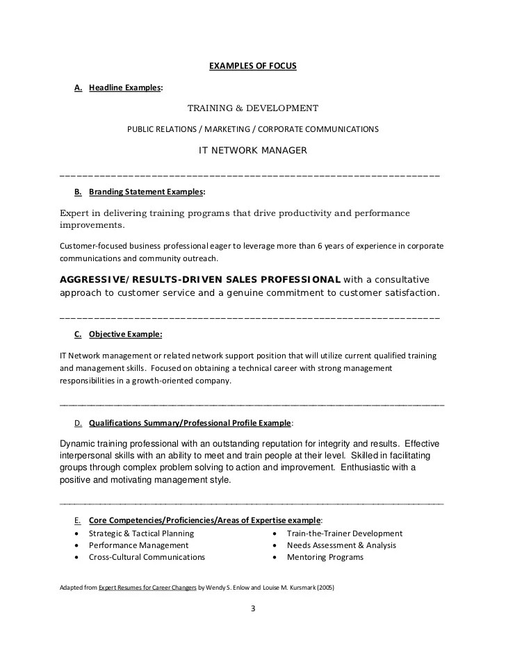 Resume Branding Statement Examples Images And Post About Personal