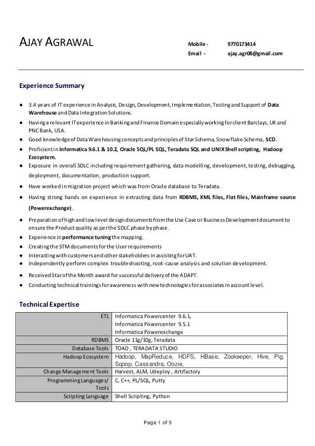 informatica teradata developer resume sample