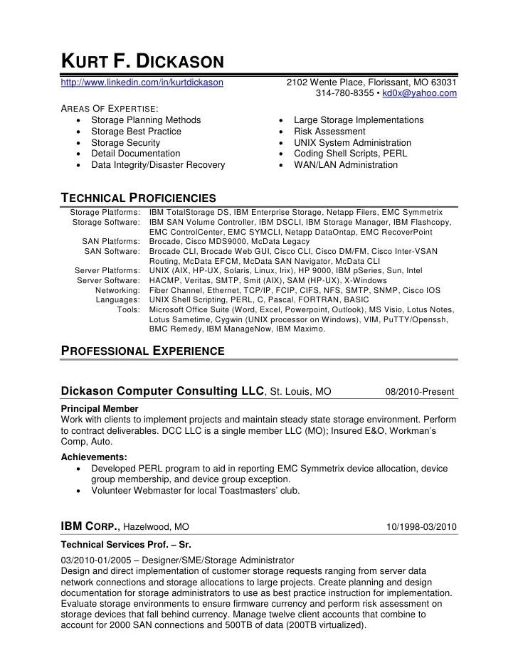 Kurt Dickason Storage Specialist Resume