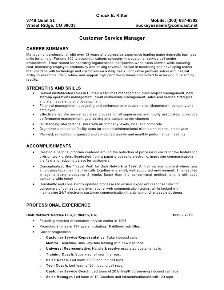 resume for supervisor of customer service