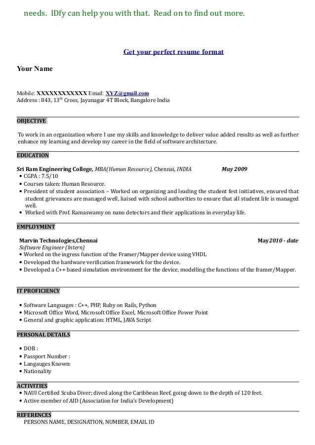 Show An Example Of A Resume