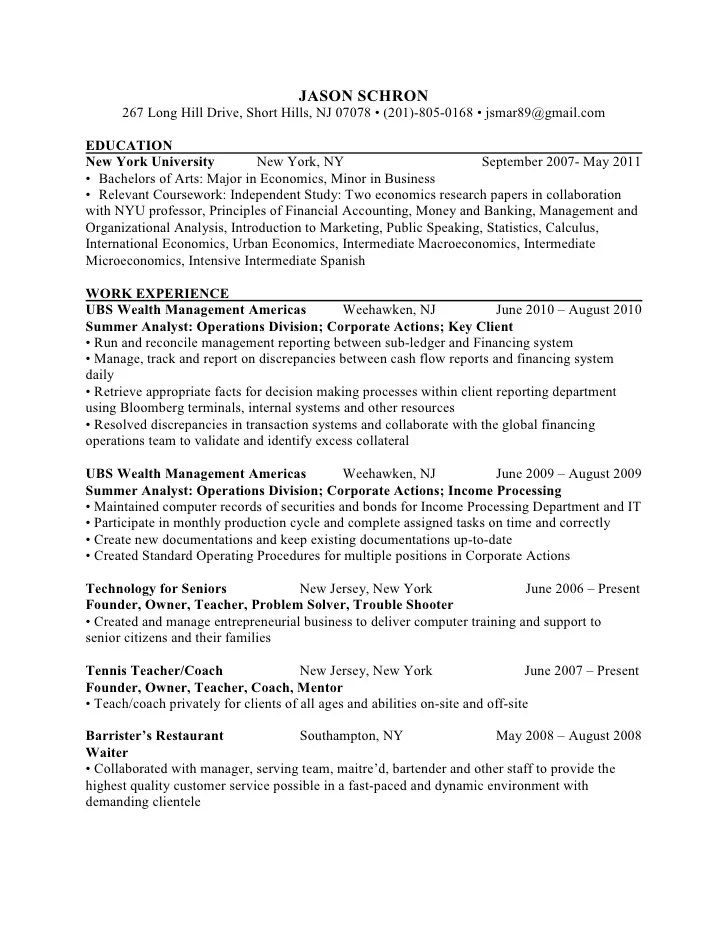 Economics Major Resume Fiveoutsiderscom