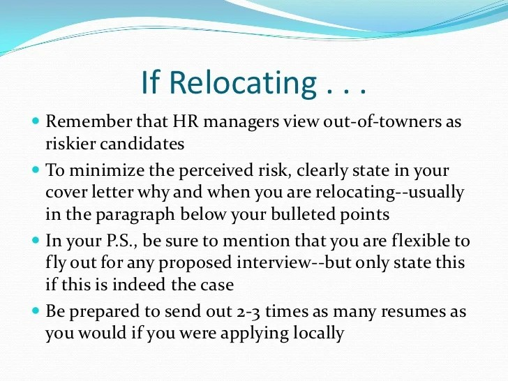 resume tips for relocating