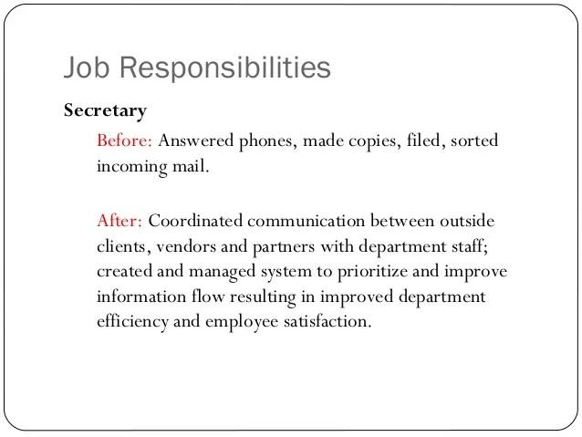 secretary resume key responsibilities