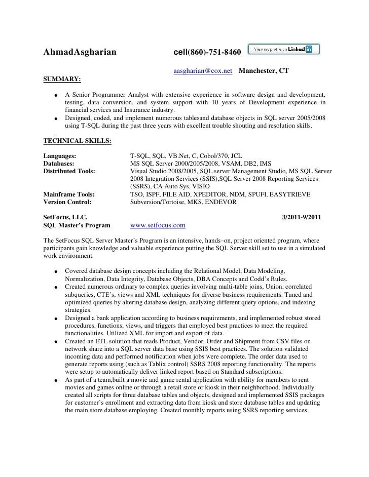 Resume Sql Server Developer