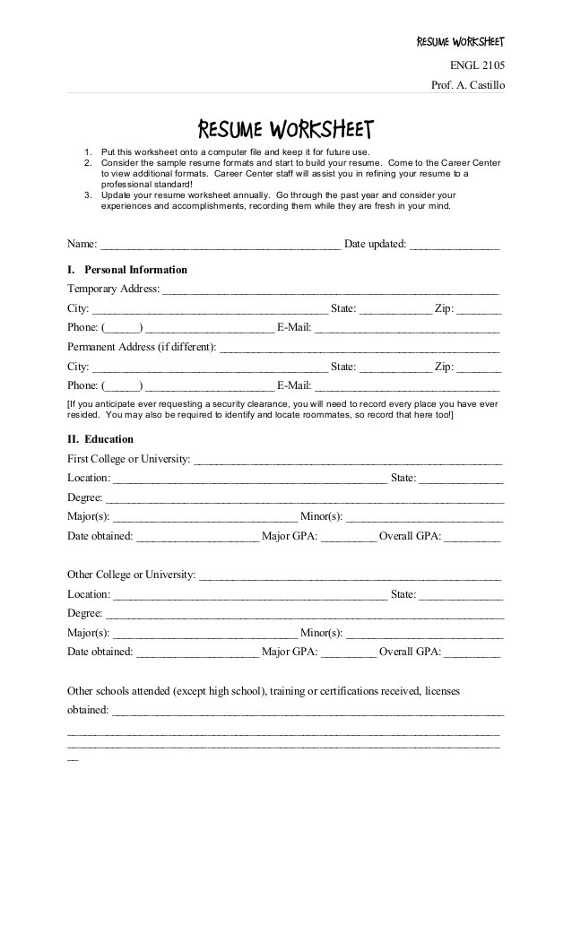 resume lesson plan middle school