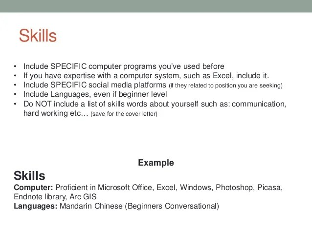 skills in computer for resume - Example Skills For Resume