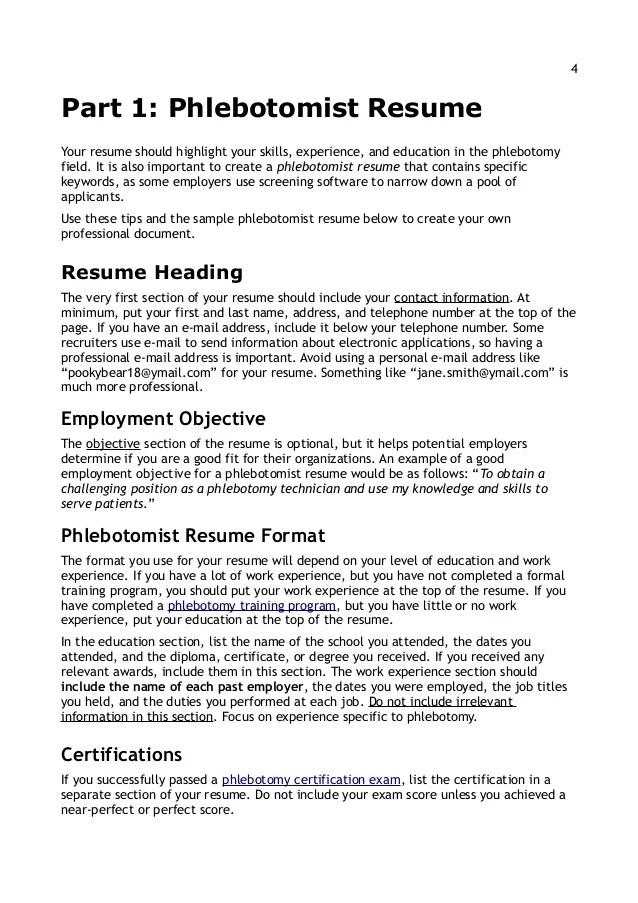 sample resume of a phlebotomist