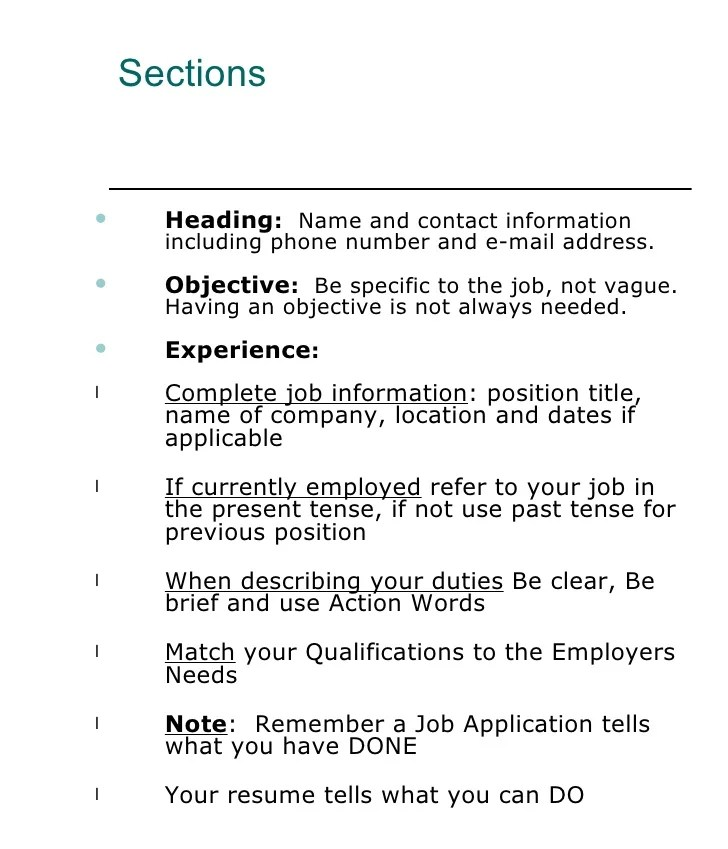 how to write a resume past or present tense