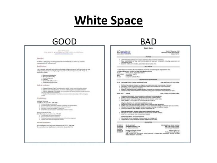 Resume White Space Resume Ideas