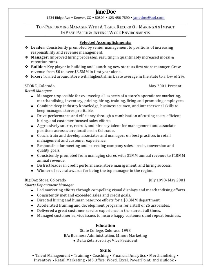 example of retail manager resume - Examples Of Resumes For Management Positions
