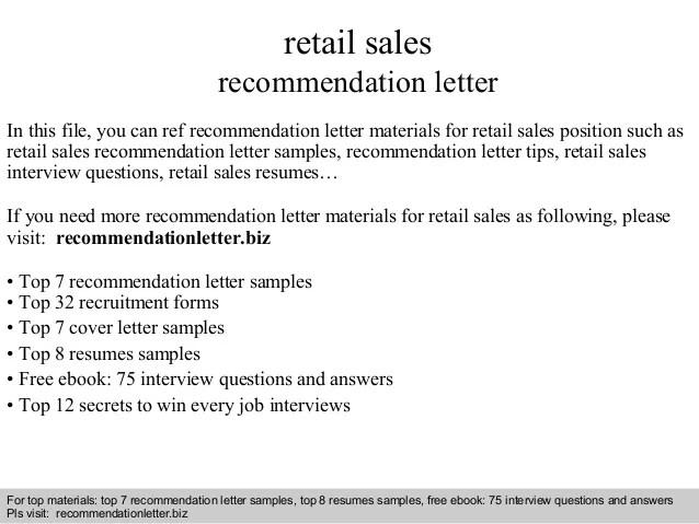 Retail Sales Recommendation Letter