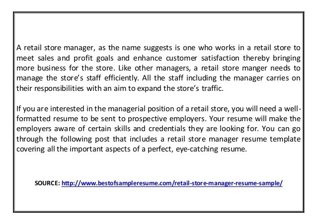 Retail Manager Resume Retail Manager Cv 3 Retail Manager Cv