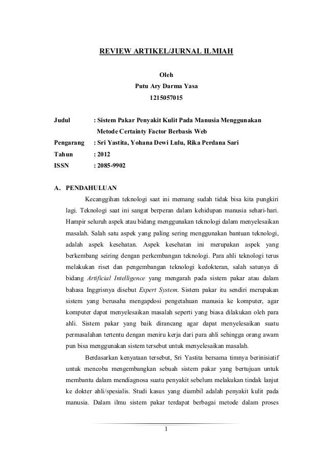Review Jurnal Sistem Pakar Metode Certainty Factor