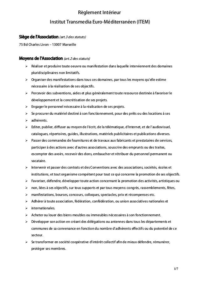 Rglement Intrieur Association ITEM 2013