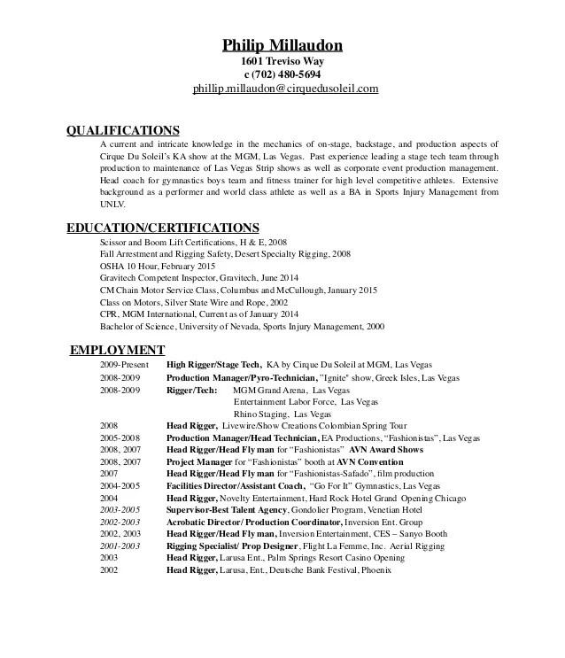 Rigger Resume 2015