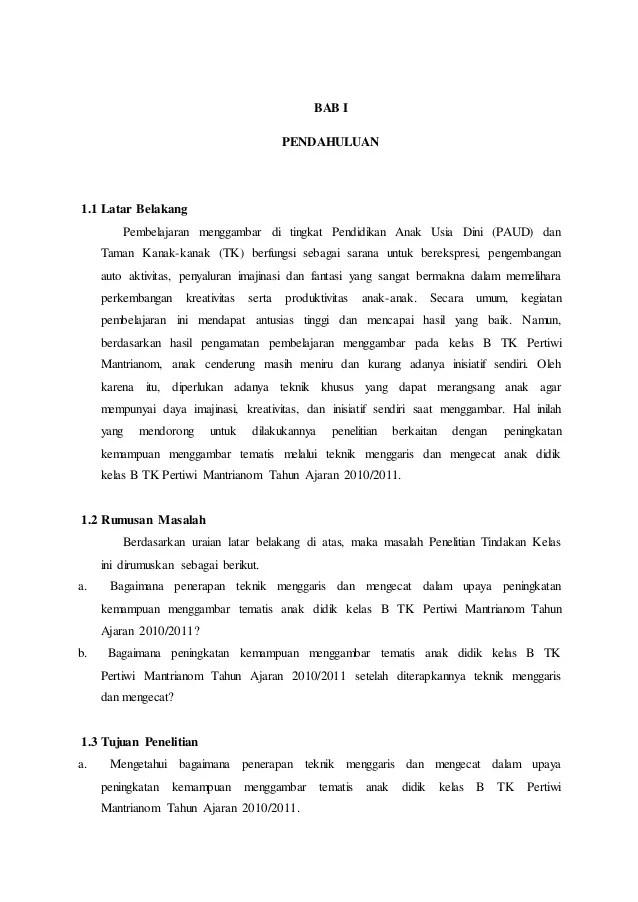 Contoh Laporan Penelitian Tindakan Kelas Paud Revisi Sekolah Cute766