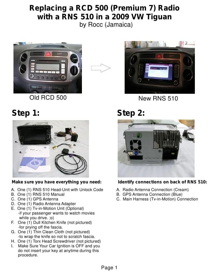 2009 vw tiguan radio wiring diagram 1998 toyota corolla alternator rns 510 t iguan installation guide