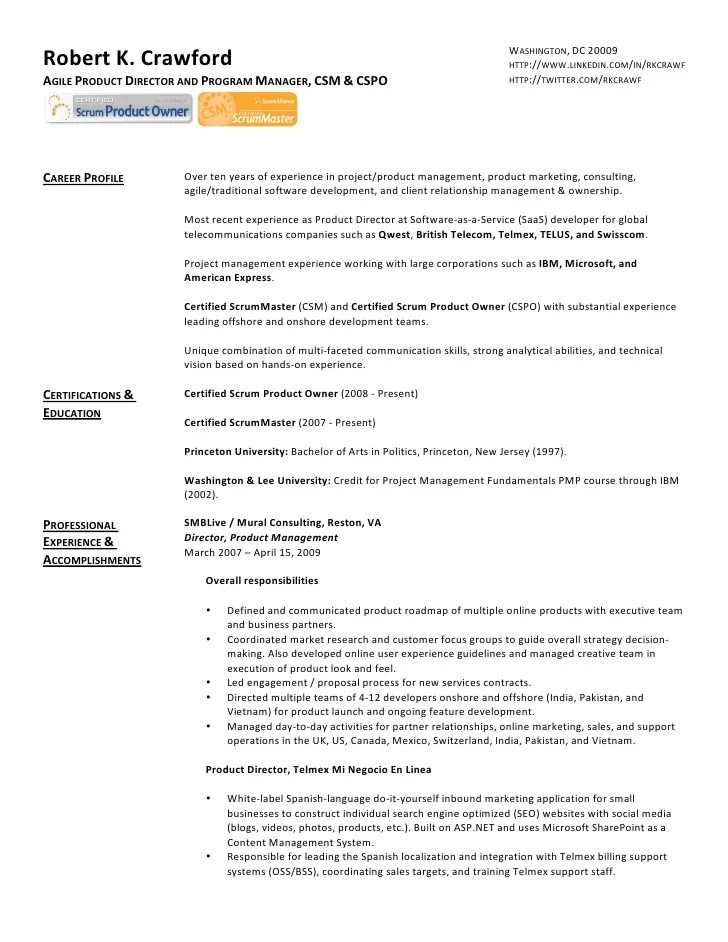 Robert Crawford Web Resume  Agile Resume