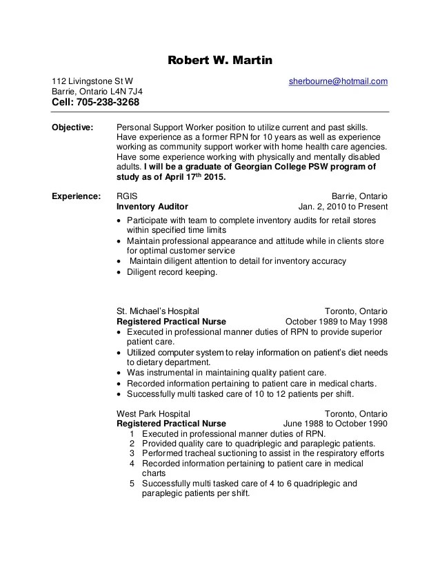 Robert W's Health Care Support Resume Rtf Updated
