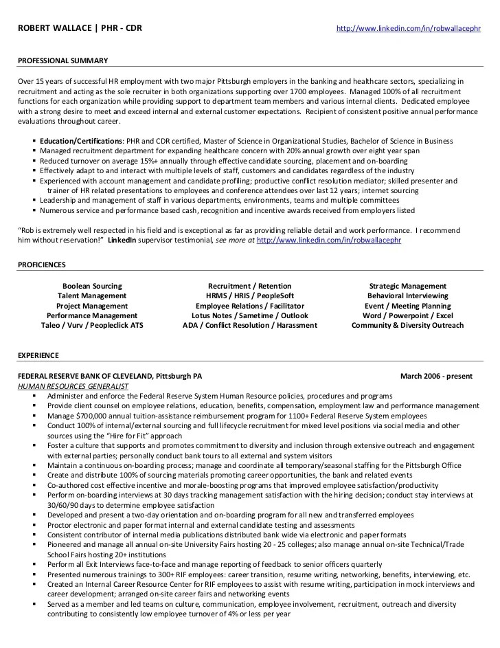 phr resume sample