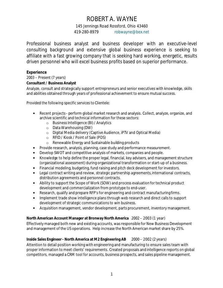 business analyst resume sample free
