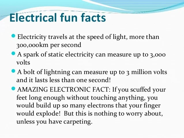 Fun Facts New Pla Energy  Fun Facts About Electricity By